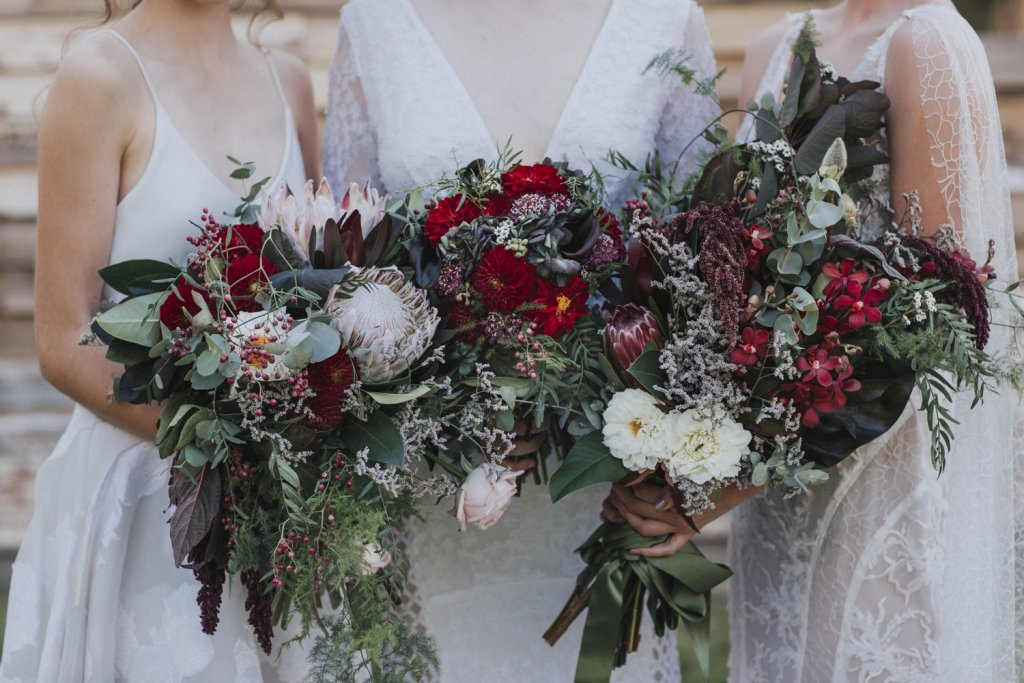 Three wedding flower bouquets