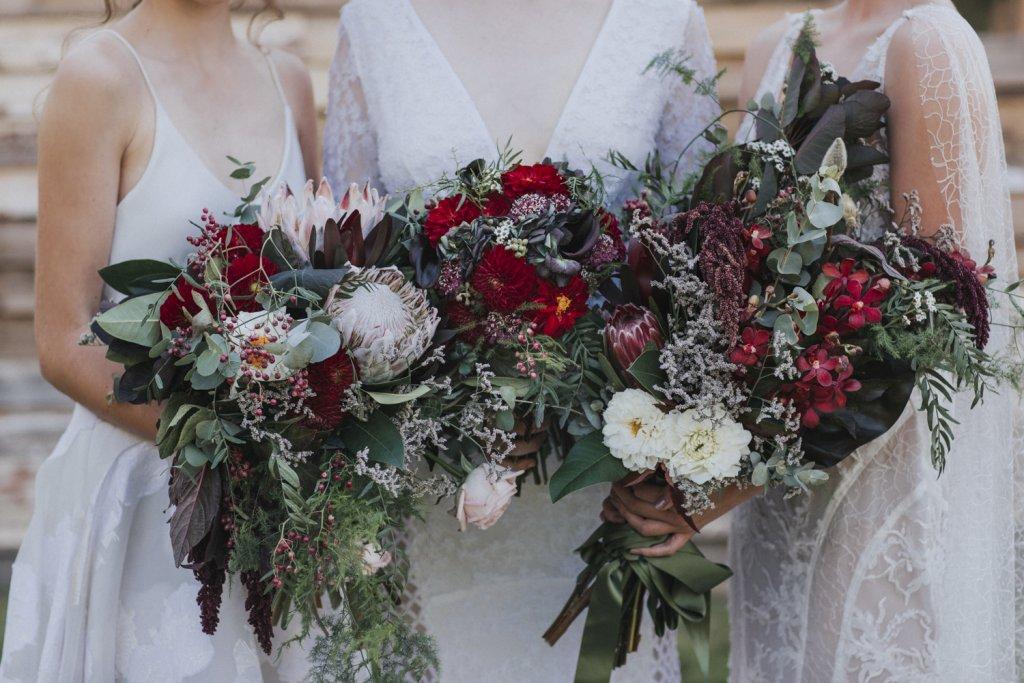 Three wedding flower bouquets